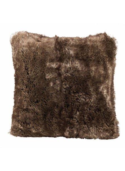 Faux fur cushion, brown 60x60