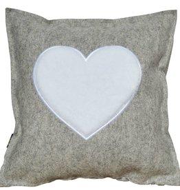 """Wool felt pillow """"OF HEARTS"""", gray 42x42 cm"""