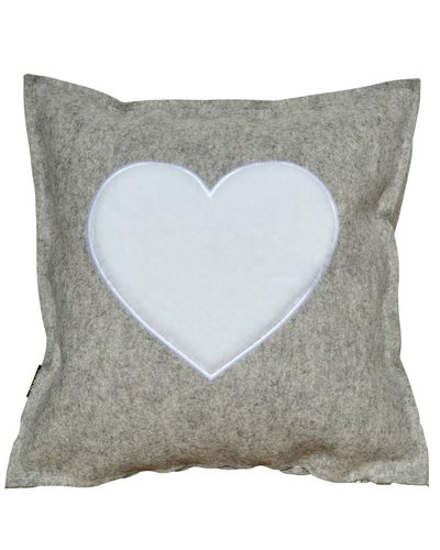 "Felt Cushion ""FROM THE HEART"" wollweiß / white - Copy"