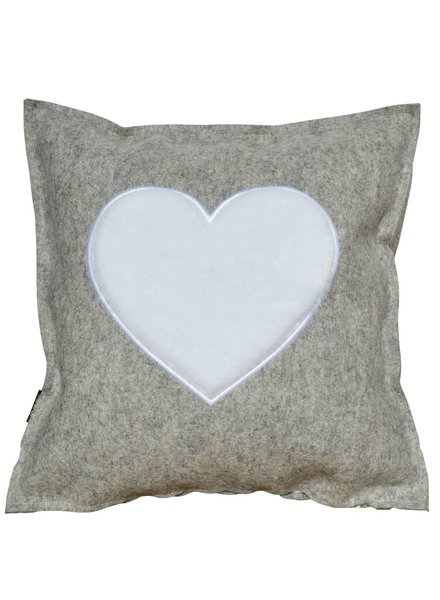 "Felt Cushion ""FROM THE HEART"" wollweiß / white - Copy"