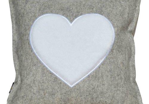 """Fieltro de lana almohada """"de corazón"""" gris 42x42 cm"""