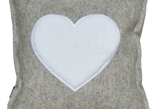 "Wool felt pillow ""OF HEARTS"", gray 42x42 cm"