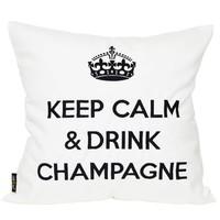 """Outdoor Kissen """"Keep Calm & Drink Champagne"""" weiß-schwarz"""