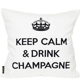 """chillisy® Outdoor pillow """"Keep Calm & Drink Champagne"""" white-black"""