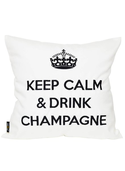 "chillisy® Outdoor cushions ""Keep Calm & Drink Champagne"" white-black"