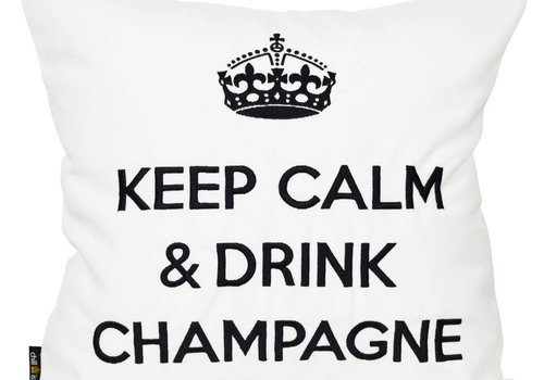"chillisy® Outdoor pillow ""Keep Calm & Drink Champagne"" white-black"