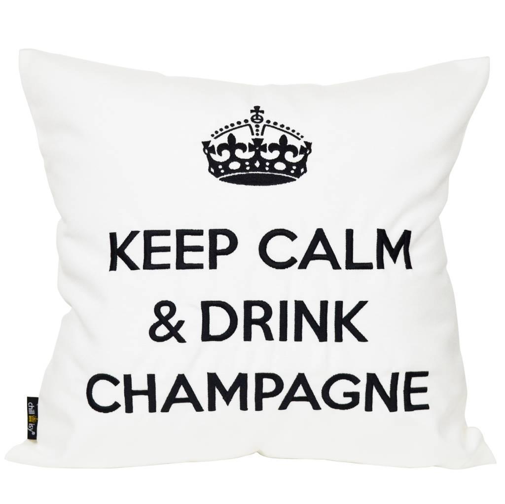 """chillisy® Outdoor Kissen """"Keep Calm & Drink Champagne"""" weiß-schwarz"""