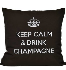 """chillisy® Outdoor pillow """"Keep Calm & Drink Champagne"""" black-silver"""