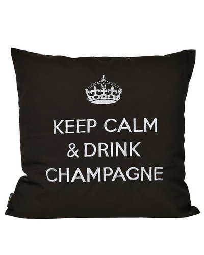 "chillisy® Outdoor cushions ""Keep Calm & Drink Champagne"" black-silver"