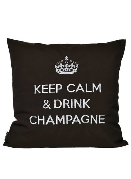 """chillisy® Outdoor cushions """"Keep Calm & Drink Champagne"""" black-silver"""