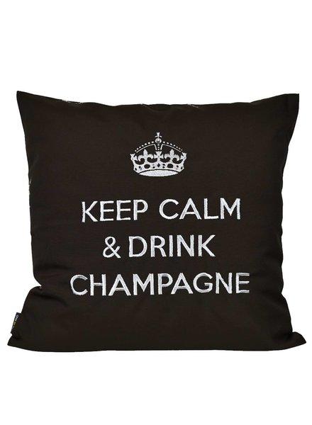 """chillisy® Outdoor Kissen """"Keep Calm & Drink Champagne"""" schwarz-silber"""