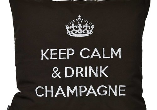 "chillisy® Outdoor pillow ""Keep Calm & Drink Champagne"" black-silver"