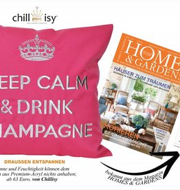 "chillisy® Outdoor Kissen ""Keep Calm & Drink Champagne"" pink-silber, türkis-silber"