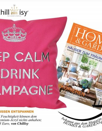 """chillisy® Outdoor cushions """"Keep Calm & Drink Champagne"""" pink-silver, turquoise and silver"""