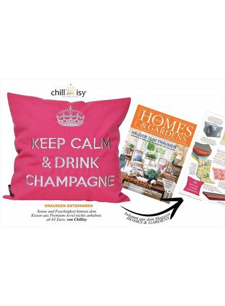 "chillisy® Outdoor Kissen ""Keep Calm & Drink Champagne"" pink-silber, türkis-silber"