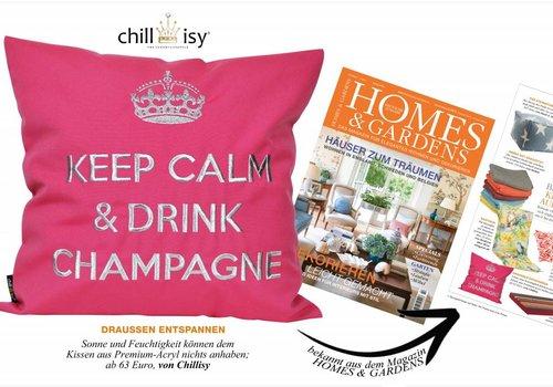 """chillisy® cojines al aire libre """"Mantener la calma y beber champán"""" de color rosa y plata, turquesa y plata"""