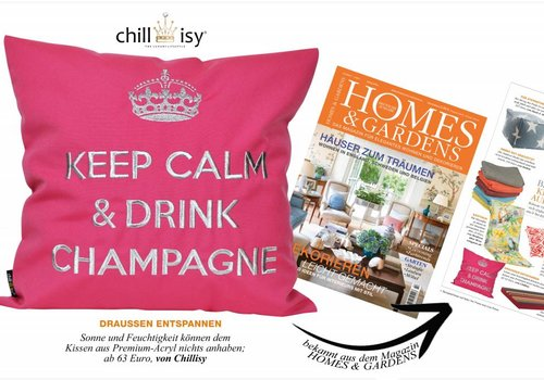 "chillisy® Outdoor cushion ""Keep Calm & Drink Champagne"" pink-silver, turquoise-silver"