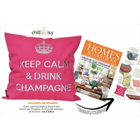 """Outdoor cushions """"Keep Calm & Drink Champagne"""" white-gold"""