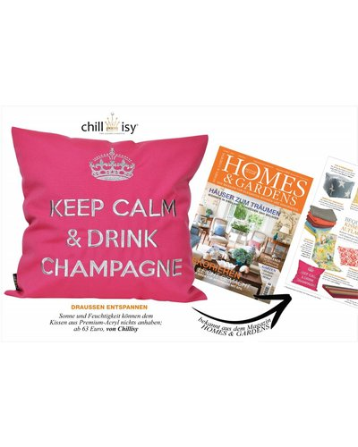 """chillisy® Weißes Kissen """"Keep Calm & Drink Champagne"""" weiß-silber"""