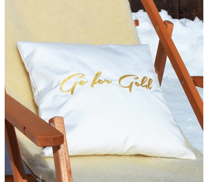 Weißes Kissen GO FOR GOLD Indoor Outdoor