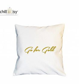 chillisy® Weißes Kissen GO FOR GOLD Indoor Outdoor