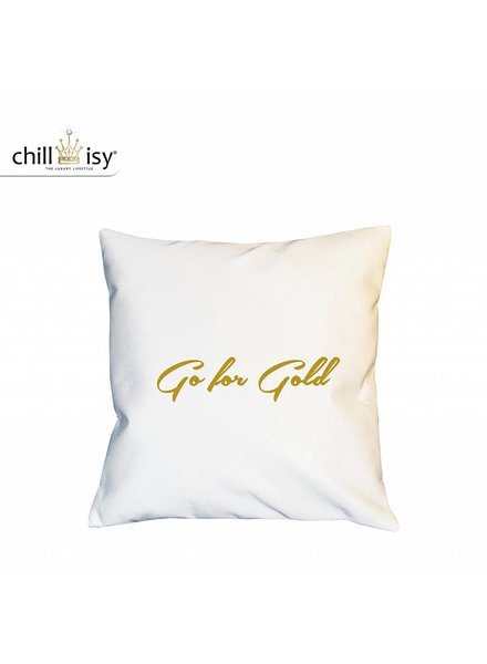 chillisy® White Cushion GO FOR GOLD Indoor Outdoor, white gold