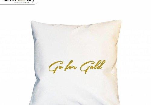 chillisy® Weißes Kissen GO FOR GOLD Indoor Outdoor