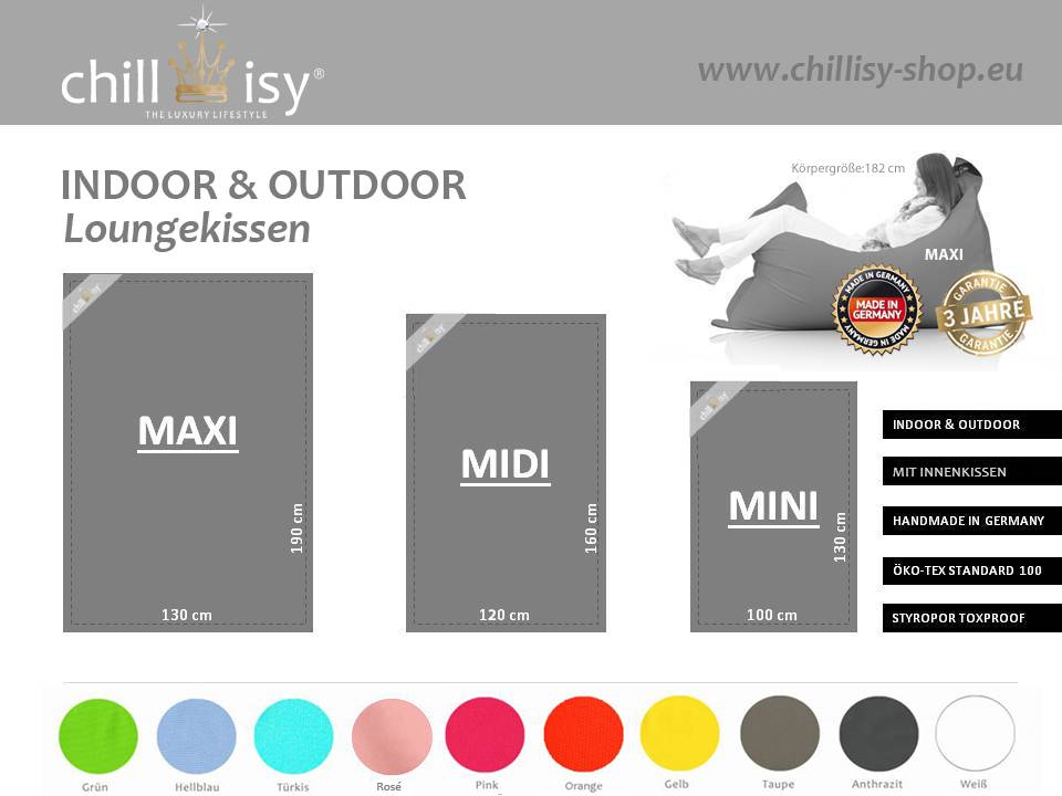 chillisy® Replacement cover for outdoor lounge cushion SUMMERTIME