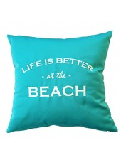 """chillisy® Outdoor cushion """"LIFE IS BETTER AT THE BEACH"""" turquoise-white"""