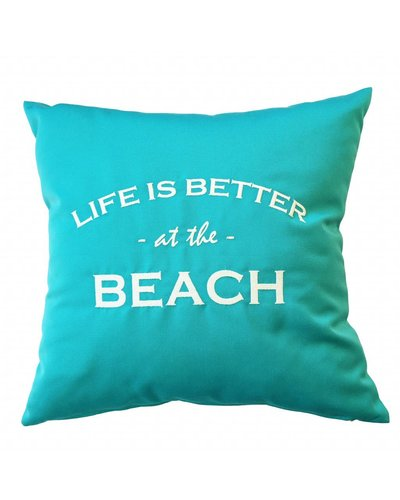 "chillisy® Outdoor cushion ""LIFE IS BETTER AT THE BEACH"" turquoise-white"