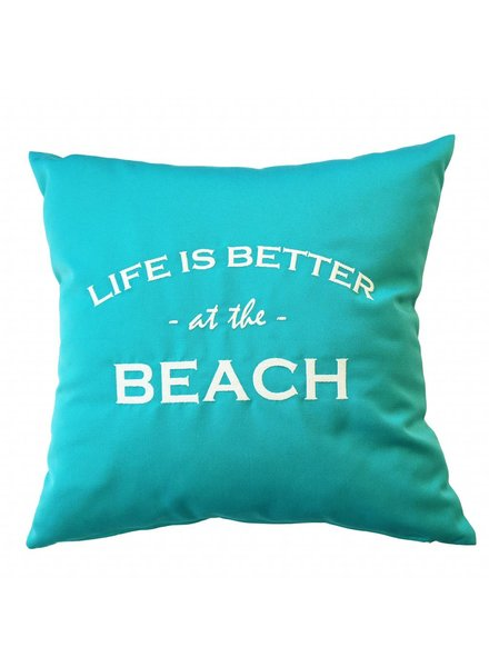 "chillisy® Outdoor Kissen ""LIFE IS BETTER AT THE BEACH"" türkis-weiß"