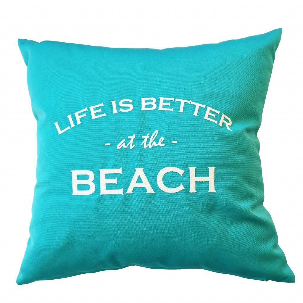 "chillisy® Outdoor Kissen ""LIFE IS BETTER AT THE BEACH"" türkis-weiß"
