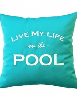 """chillisy® Outdoor cushion """"LIVE MY LIFE ON THE POOL"""" turquoise-white"""