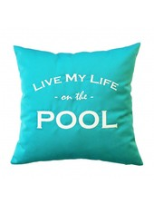 "chillisy® Outdoor cushion ""LIVE MY LIFE ON THE POOL"" turquoise-white"