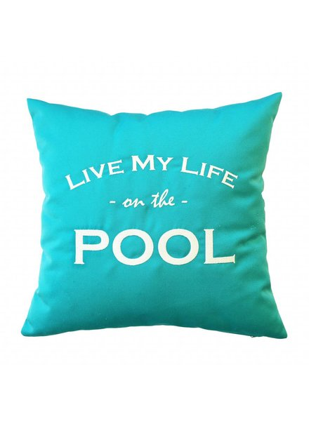 "chillisy® Outdoor Kissen ""LIVE MY LIFE ON THE POOL"" türkis-weiß"
