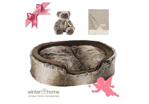 Winter Home Weihnachtsset Yukonwolf Dog - 4 teilig  - Fellimitat Winter Home