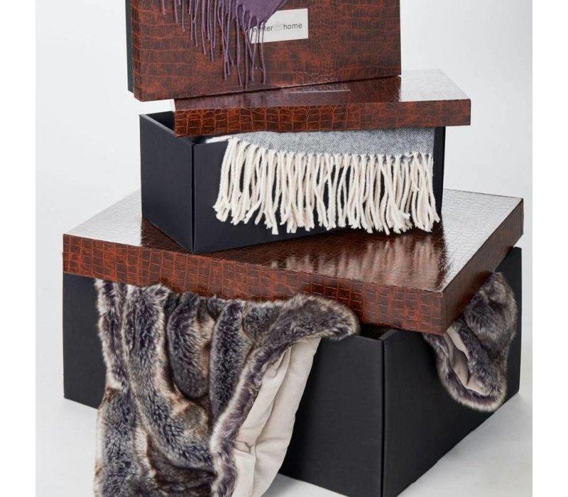 Kaschmirdecke Plaid Grace anthrazit 130 x 180 cm