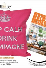 "chillisy® Outdoor pillow ""Keep Calm & Drink Champagne"" rose-silver"