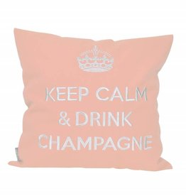 """chillisy® Cushion """"Keep Calm & Drink Champagne"""" rose-silver"""