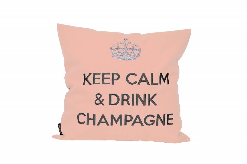 "chillisy® Weißes Kissen ""Keep Calm & Drink Champagne"" rose"