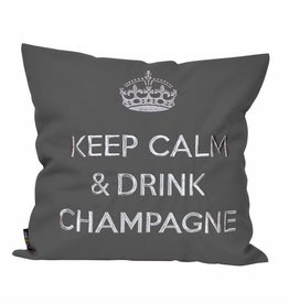 """chillisy® Cushion """"Keep Calm & Drink Champagne"""" anthracite-silver"""