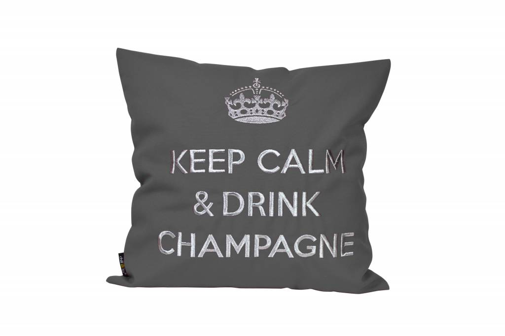 "chillisy® Outdoor Kissen ""Keep Calm & Drink Champagne"" anthrazit-silber"