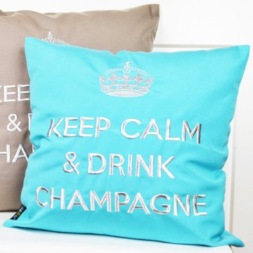 """chillisy® Outdoor cushion """"Keep Calm & Drink Champagne"""" turquoise-silver"""