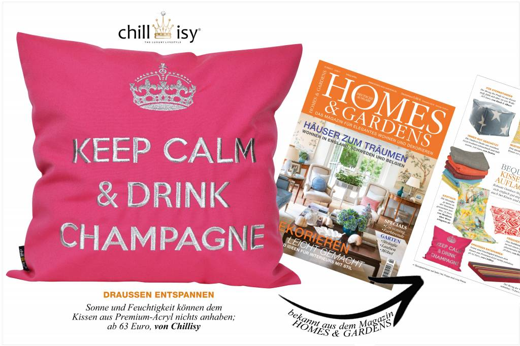 """chillisy® Outdoor pillow """"Keep Calm & Drink Champagne"""" pink-white"""