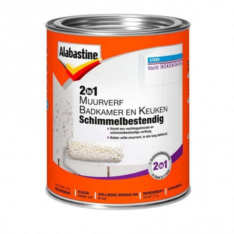 Muurverf 2 in 1 voor badkamer en keuken van Alabastine Goedkoopverf.com