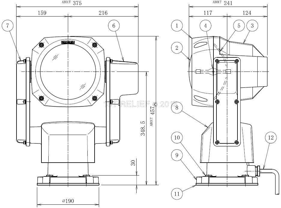 "Sanshin 7"" Xenon Robo Searchlight (24 VDC / 150 W) with lamp, control panel CPF196 and 2 m cable"