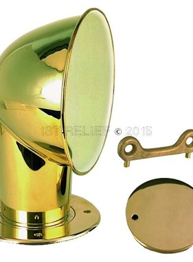 "Perko Polished Brass 4"" Cowl Ventilator with Bronze Deck Plate"
