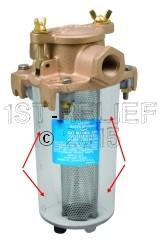 Perko Kompakter Einlasswasserfilter - Transparenter Zylinder