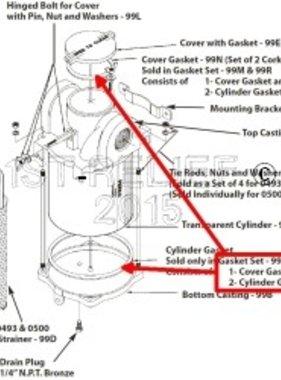 Perko Filtro de agua de admisión - Junta de repuesto Kit CORCHO