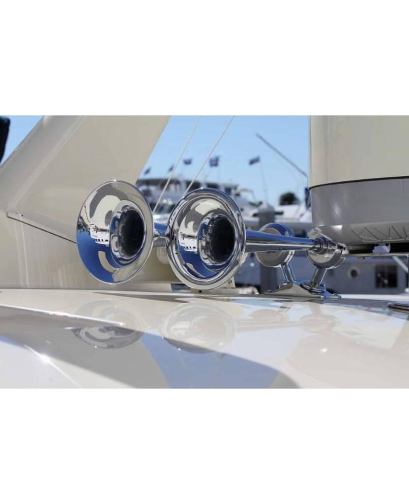 Kahlenberg D-0A Schiffshorn, zwei Trompeten, weiß pulverbeschichtet oder verchromt